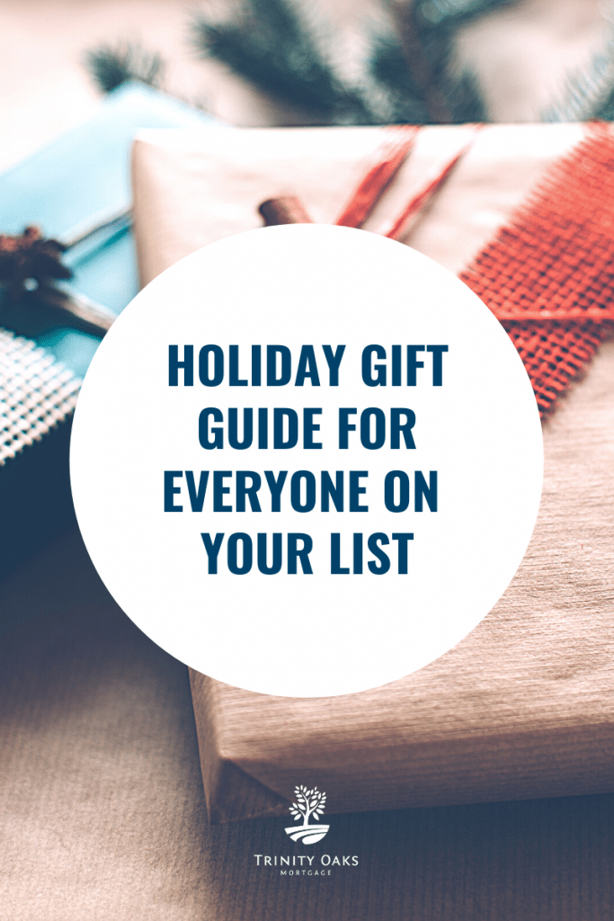"Gifts wrapped with white cirle and dark blue test ""Holiday Gift Guide For Everyone On Your List"""